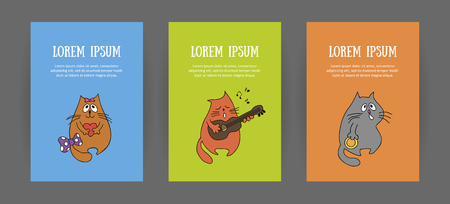 Set of animalistic vertical bright covers of corporate identity cartoon. For zoo store, veterinary clinic, shelter, music store. Cute cat hungry, musician and lover. Booklet and discount card, vector