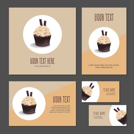 Set corporate style elements with dessert. Template cover brochure, booklet and business card for restaurant, cafe or pastry shop. Chocolate cake with cream and pastry on white circle