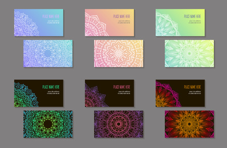 Set of business cards with abstract ethnic pattern. The element of corporate identity. Round Mandala. White, black and gradient. Vector illustration