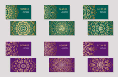 Set of business cards with abstract ethnic pattern. The element of corporate identity. Round golden mandala on green and purple background. Vector illustration