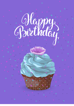 Sweet dessert on a bright background with an inscription greeting card. Happy birthday chocolate cake with cream and cookies on a purple background, template vector 일러스트