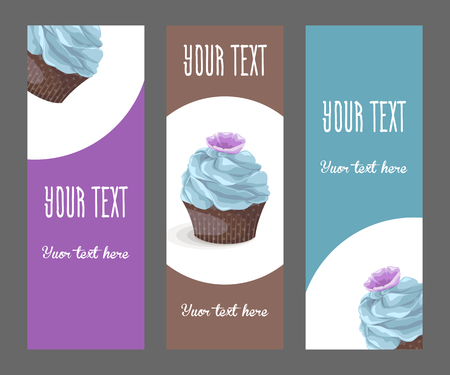 Set of vertical narrow banners with cake 일러스트