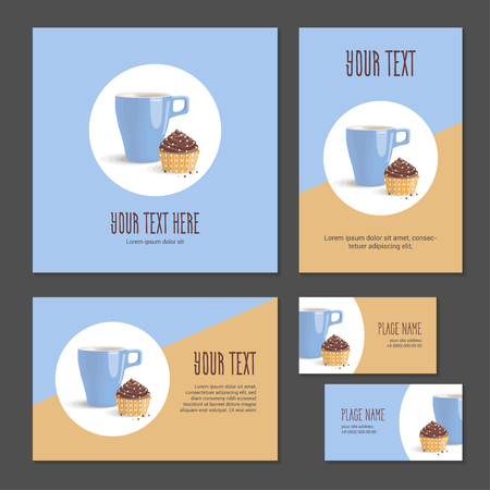 Set corporate style elements with dessert. Template cover brochure, booklet and business card for restaurant, cafe or pastry shop. Cup and chocolate cake in packing paper in polka dots on white circle