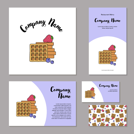Set corporate branding. Fresh belgian waffles, strawberries and blueberries on white background. Template cover brochure, booklet and business card for restaurant, cafe or pastry shop.