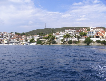 Panorama of the coastal residential village. European city