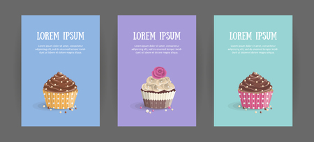 Set booklet cover template with sweet dessert on bright background. Chocolate cakes with cream. Menu for restaurant and coffee house. Cartoon vector illustration.