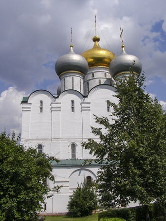 Domes Novodevichy Orthodox Christian monastery of sunny day