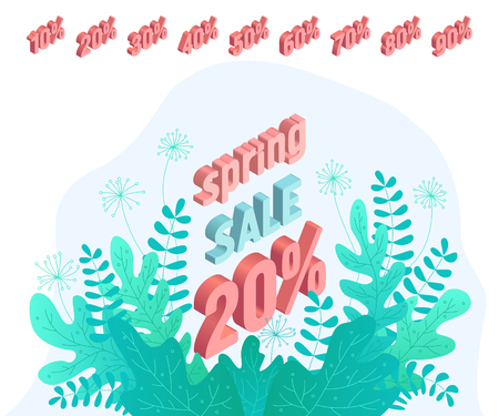 Isolated set of elements for an isometric banner. Inscriptions and percentages of bright modern colors. Template for marketing. Spring sale. Vector illustration