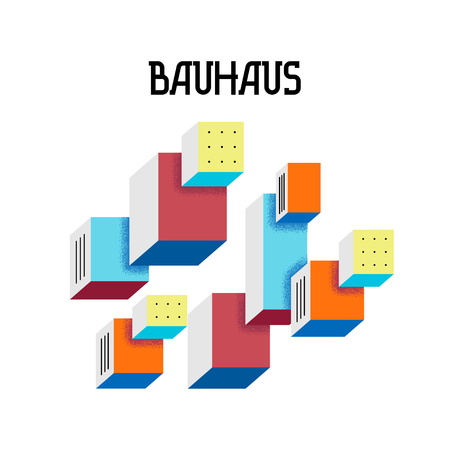 Cover trendy abstract geometric pattern in the style of Bauhaus 60s on white