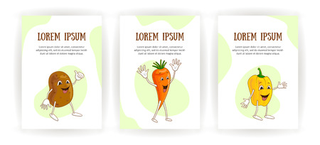 Set vertical banners cheerful emotional vegetables in cartoon style with outlines on white