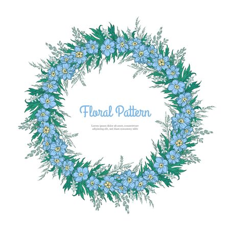 Abstract template floral round pattern on white background. Garlands blue flower delphinium and spikelets. Romantic frame greeting card for invitation, wedding, birthday isolated. Vector illustration