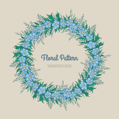 Abstract template floral round pattern on light background. Garlands blue flower delphinium and spikelets. Romantic frame greeting card for invitation, wedding, birthday isolated. Vector illustration Illustration