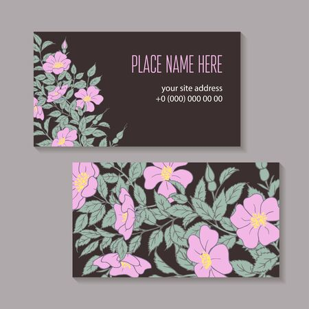 Floral abstract template business card hand-drawn on a dark background. Flowers, buds and leaves of a wild rose on a branch isolated. Vector illustration