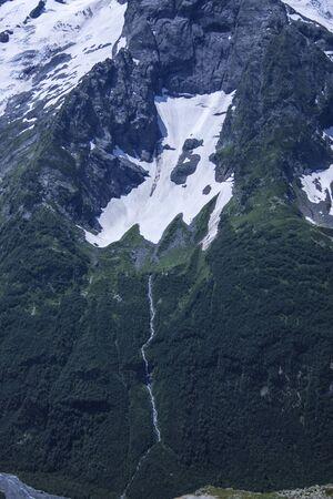 Vertical beautiful panorama of the Caucasus mountains.