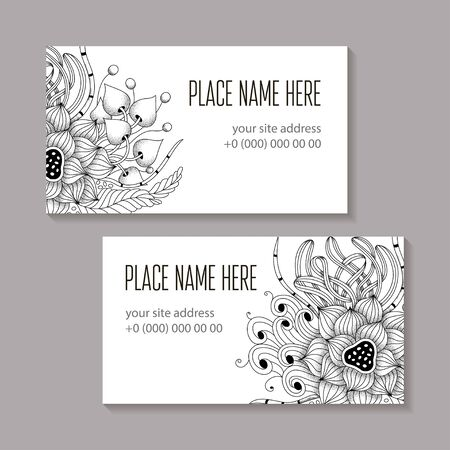 Set of monochrome business card isolated template.