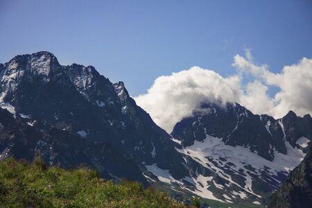Horizontal beautiful panorama of the Caucasus mountains.
