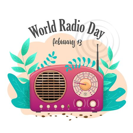 Banner International Flat Day Radio isoliert. Rosa Funkempfänger in der Natur. Vektorgrafik