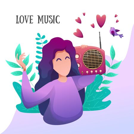 Romantic flat banner. A young girl listens to music in nature. Broadcast music. Vector illustration. For website banner and booklet