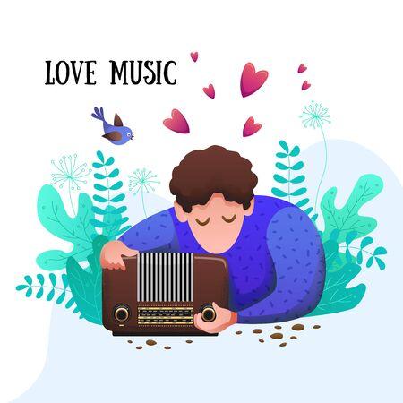 Romantisches flaches Banner. Ein junger Mann hört Musik in der Natur.
