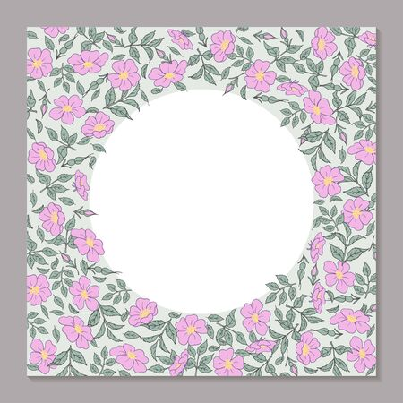 Floral square template for greeting card. Vettoriali