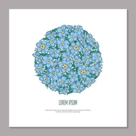 Cover blue flower rose hip and leaf in shape of circle