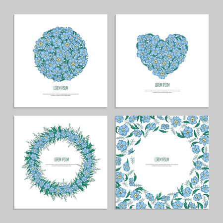 Set floral square template for greeting card. Cover for social media posts, app, banner design and web. Blue flower delphinium and leaf in shape of heart and circle hand drawing. Vector illustration.