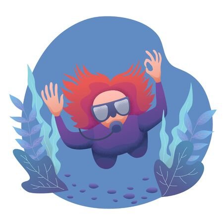 Conceptual flat banner design with noises. Woman in an underwater suit with a mask and scuba diving in the water among the plants. World Ocean and Sea Day. Diver at bottom of sea. Vector illustration
