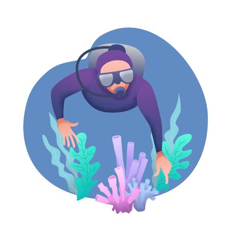 Conceptual flat banner design with noises. Character in an underwater suit with a mask and scuba diving in the water near coral. World Ocean and Sea Day. Diver at bottom of sea. Vector illustration Vettoriali