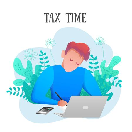 Conceptual modern banner tax time flat design. Young taxpayer performs the calculation. Man accountant writes near computer and calculator among plants. Vector illustration