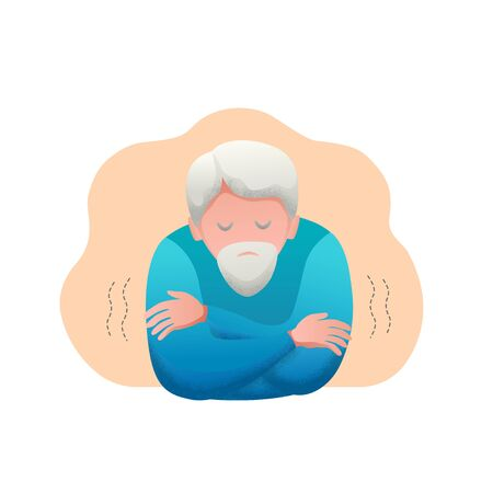 Medical banner flat design isolated. Signs of a virus infection are fever and chills. Old man with beard is sick. Vector illustration. Vettoriali