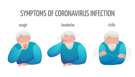 Medical banner flat design isolated. Signs of a virus infection are fever and chills, coughing and sneezing, headache. An elderly man with a beard is sick. Vector illustration. Vettoriali