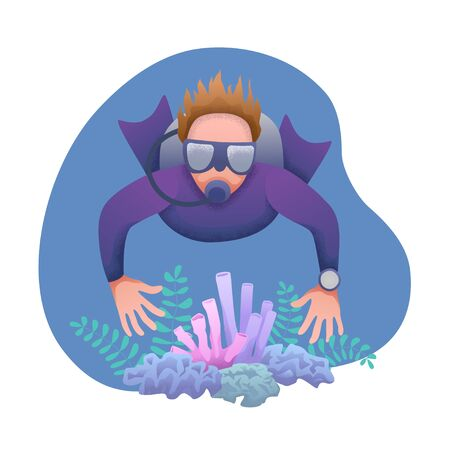Conceptual flat banner design with noises. Man in an underwater suit with a mask and scuba diving in the water among the plants. World Ocean and Sea Day. Diver at bottom of sea. Vector illustration