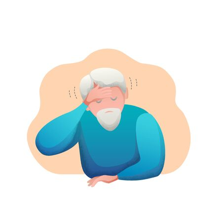 Medical banner flat design isolated. Signs of a virus infection are headache and fever. Old man with beard is sick. Vector illustration.