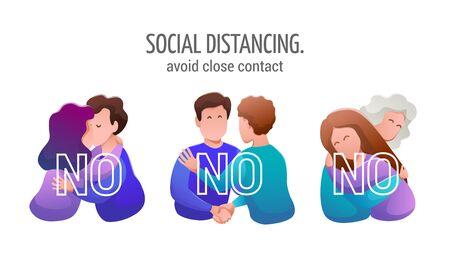 Social distancing. Medical banner flat design. Ilustração