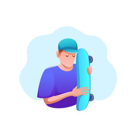 Sports banner flat design isolated. Young man in cap with skateboard. Active entertainment and extreme sports. Modern vector illustration.