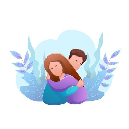 Hug day flat design isolated banner. Happy young man and woman hug each other.