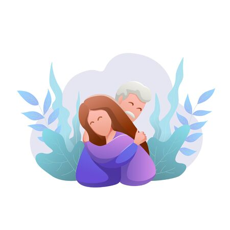 Day of elderly. flat design isolated banner. Happy young man and woman hug each other. Tender relationships against the background of plants. Fathers day. Modern vector illustration.