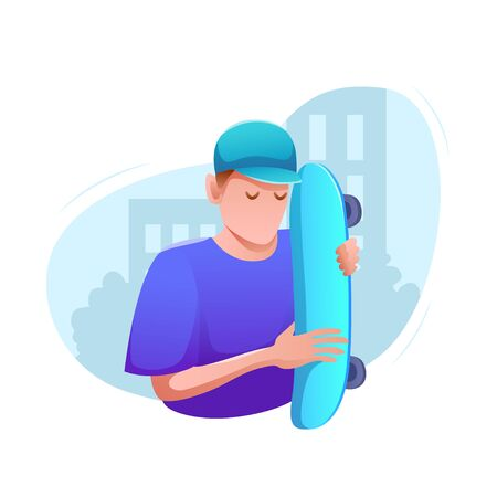 Sports banner flat design isolated. Young man in cap with skateboard in city street. Active entertainment and extreme sports. Modern vector illustration.