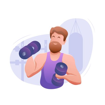 Sports banner flat design isolated. Young muscular sportsman with dumbbells in gym. Performing a bench press by an athlete in training. Modern vector illustration.