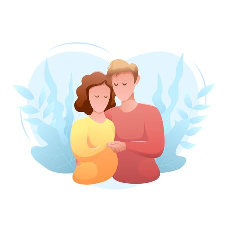 Family day flat design isolated banner. Happy young man and woman hug each other Vettoriali