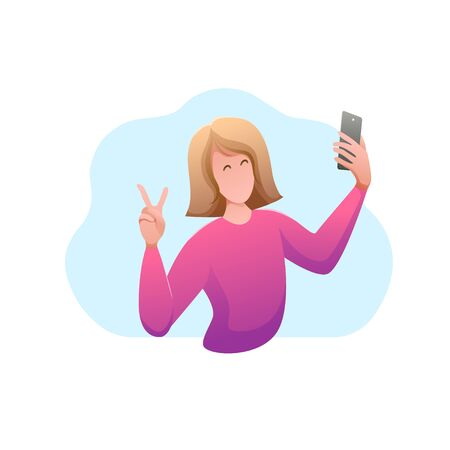 Interaction people flat design isolated banner. Young happy girl makes selfie on phone. Blogger shoots video on smartphone. Communication with subscribers on social networks. Vector illustration.