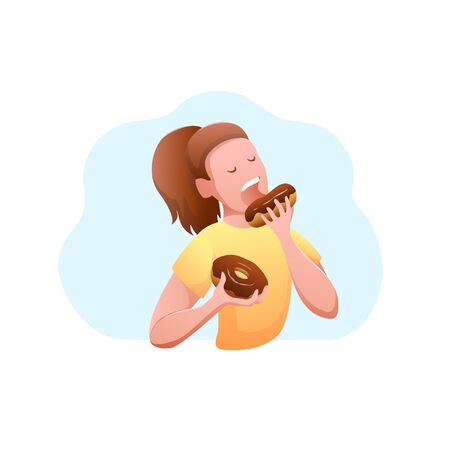 National Donut Day Flat Design Isolated Banner. Young hungry woman eating a donut with chocolate. Modern vector illustration. Vettoriali