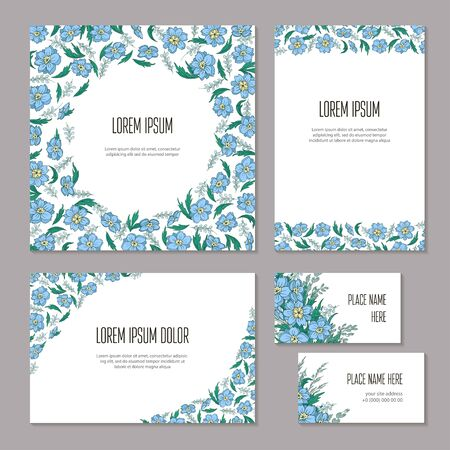 Set floral abstract template elements of corporate identity hand-drawn on white background. Blue flowers, buds and leaves of delphinium on branch isolated. Vector illustration