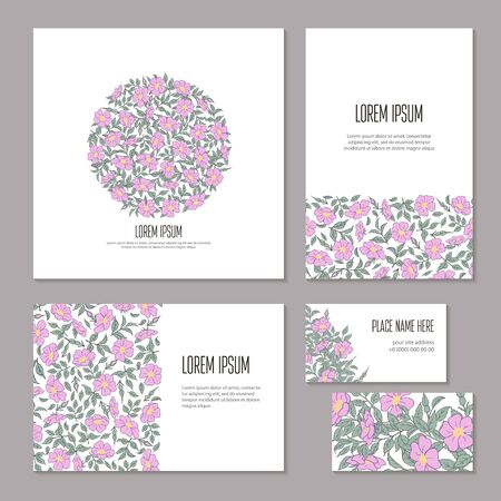 Floral abstract holiday set hand-drawn on white background. Flowers, buds and leaves of wild rose on branch isolated. Wedding template sketch, card, booklet and brochure. Vector illustration.