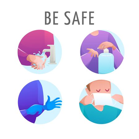 Social set icon flat design vector isolated. Virus prevention and protection. People washes hands with soap and water, uses hand sanitizer, puts on medical mask and blue protective rubber gloves.