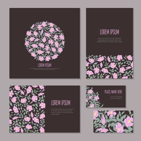 Floral abstract holiday set hand-drawn on dark background. Flowers, buds and leaves of wild rose on branch isolated. Wedding template sketch, card, booklet and brochure. Vector illustration.
