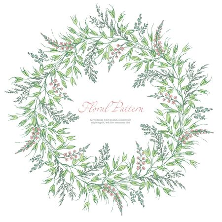 Abstract template floral round pattern on white background. Garlands spikelets, oats and small pink flowers. Romantic frame greeting card for invitation, wedding, birthday. Vector illustration, sketch