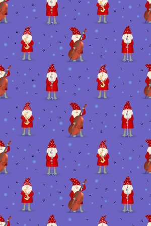Seamless pattern musician Santa Claus in red coat, musician with musical instruments and note on violet background. Christmas party, jazz band, illustration for fabric, textile, wrapping paper or web
