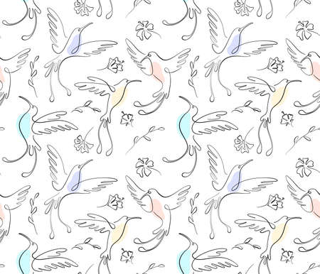 Black one line seamless pattern on white. Hummingbird birds fly over flowers in sketch style and pastel spots. For textiles, wrapping paper and web