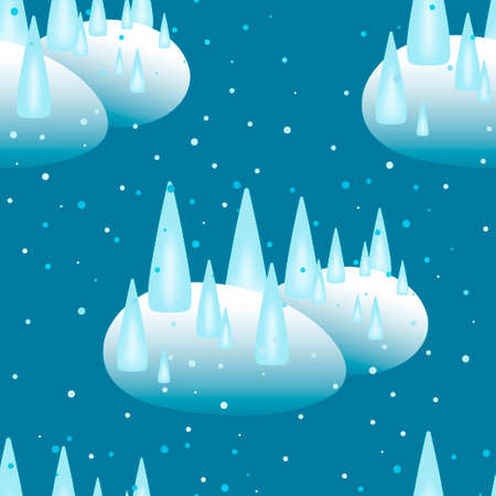 Snowy forest seamless abstract winter pattern. Frozen cartoon Christmas trees. Illustration for textiles, wrapping paper and web